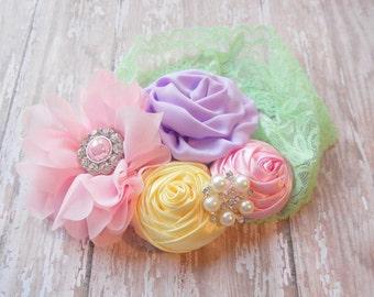 First Birthday headband,big flower, pastel headband, baby headband, cute newborn headband, Infant, toddler, child, baby girl headband