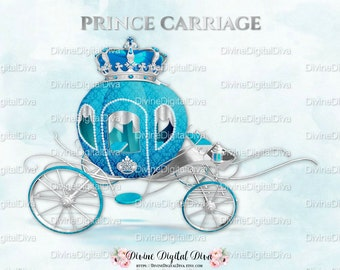 Little Prince Carriage Coach Turquoise & Silver Ornate Crown | Clipart Instant Download
