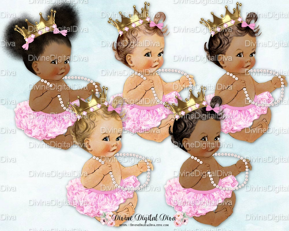 Ballerina Baby Candy Pink Tutu Gold Crown Pearl NecklacePink Tutu Baby Clipart