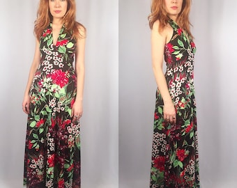 Vintage 1970's hawaiian maxi dress Size SMALL