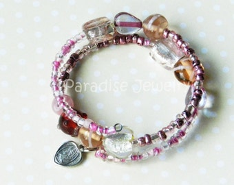Pink Glass, Memory Wire Bracelet, Sacred Heart, Our Lady Of Mount Carmel, Heart Medal, Wrap Bracelet, Artisan Jewelry, Unique Catholic Gift