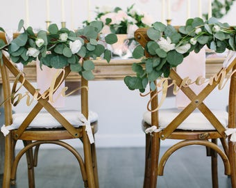 """Gold Mirror """"bride & groom"""" Laser Cut Acrylic Chair Signs - (Set of TWO) 15"""" x 5"""" Modern Calligraphy Font Wedding Sweetheart Chair Signs"""