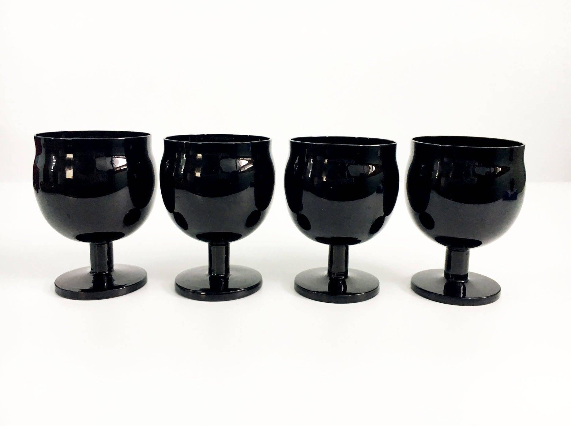 vintage set of  black block crystal capers wine  water glasses  - vintage set of  black block crystal capers wine  water glasses  midnight mid century modern barware