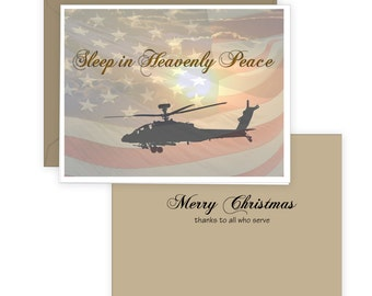 Christmas Card, Sleep In Heavenly Peace, Military Theme, Blackhawk Helicopter, American Flag
