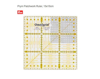 Prym Omnigrid Patchwork Ruler, 15x15cm, Quilters Grid, Quilting Ruler and Angel Grid, Fabric Crafters, Fabric ruler
