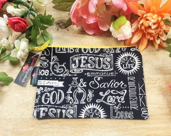 Zipper pouch, Make up bag, Cosmetic pouch, Travel pouch, Jesus pouch