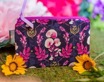 Zipper pouch, Zipper bag, Small zipper pouch, Travel pouch, Small makeup bag, Cosmetic bag, Cosmetic pouch, Orchid pouch, Orchids