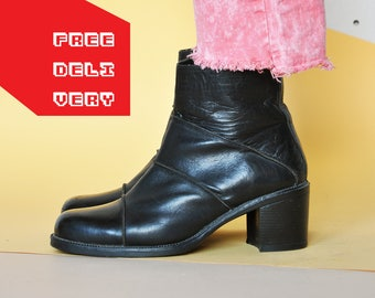 90s GRUNGE boots CHUNKY boots MODERN boots minimal boots combat boots goth boots boho boots gothic boots / Size 8.5 us / 6 uk / 39 eu
