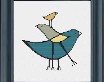 Layered Birds, Cross Stitch Pattern, PDF, instant download