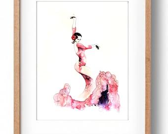 Flamenco Dancer, Watercolor Painting, Fashion Art Print, Dancer Illustration, Spain, Fashion Illustration, Dancer, Flamenco Art Print