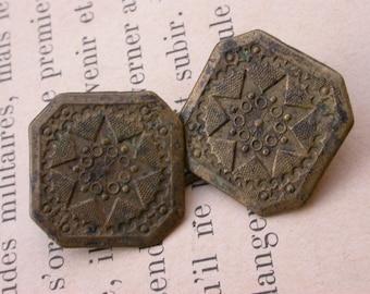 French antique 18th century bronze button Cape Clasp cape button engraved stars ornate antique button