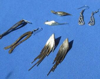 Lot Of Retro Metal Dangling Pierced Earrings Aged Patina