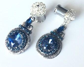"Royal Blue Dangle Gauges 8g - 1"" Ear Plugs 2mm - 25mm Wedding"