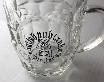 Set of 7 glass english pub mugs