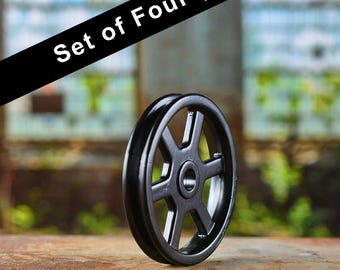 Set of 4 Black Pulley Wheels - Barn Door Hardware - Iron Pulley - Metal Pulley - Pulley Light Parts -