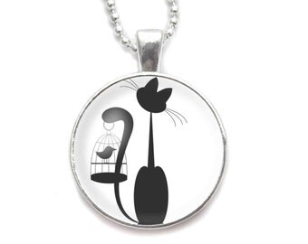 Cat and Bird necklace