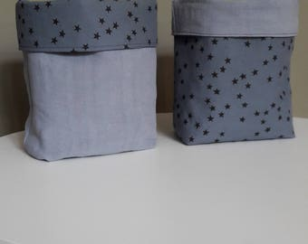 Former dyed blue grey and linen fabric storage basket stormy blue black stars