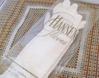 Hansen vintage elbow gloves white with buttons opera or Downton