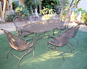 Elegant Vintage Retro Large Seven Piece Iron Patio Set Art Deco Theme Insured Safe  Nationwide Shipping Available