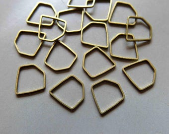 200pcs Raw Brass Diamond Shape Rings, Findings 10mm - F326