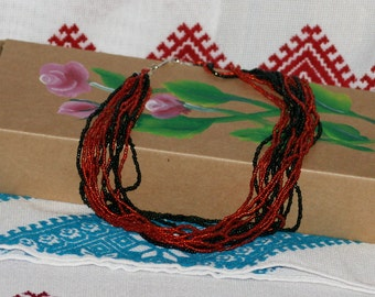 Jewelry Bead Necklace. Bead , Multistrand Necklace, Boho Necklace, black and coral, red