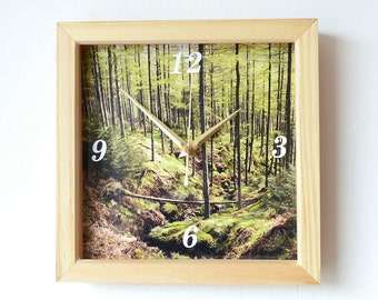 Forest Wall Clock - Photo Wall Clock - Woods Photo Clock - Lake District Clock - Woodland Clock - Nature Photography