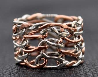 Handmade Sterling Silver copper Ring 6.5