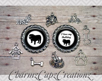 10pc Bulldog Dog Charm Set/Lot/Collection with Bottle Caps / Jewelry, Scrapbooking, Crafts /Jewelry and/or Crafting Kit / Choose Images