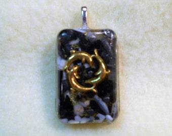 Dolphin Circle Positive Energy Pendant, Hematite, Black Tourmaline, Shungite, Selenite, Mother of Pearl, Herkimer Diamond, Rhodizite 4023