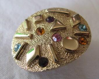 "c. 1959 SARAH COVENTRY Multi Colored Rhinestone Gold Earrings, ""Sultana"", 1.25"" Clip Backs"