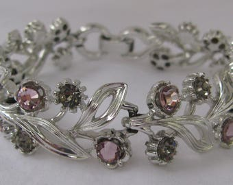 """Attractive Vintage LISNER Signed Silver Bracelet with Purple and Gray Rhinestones, 7"""""""