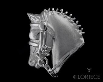 Driving Horse Head Pin, Driving Horse Head Brooch, Driving Horse Jewelry, Carriage Driving, Horse head driving, equestrian driving