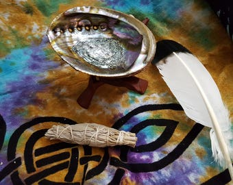 Small White Sage Smudging Kit ~  White Sage (Salvia Apiana) Bundle approx 4 inches, 5~6 inch abalone shell with 6 inch tripod stand, feather