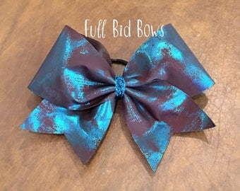 Cheer Bow - Turquoise and Brown
