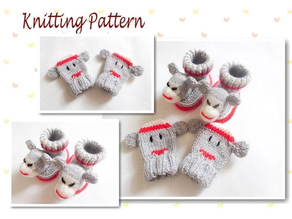 Knitting Pattern For Sock Monkey Booties : Knitting Pattern Sock Monkey Baby Booties and Mittens Baby