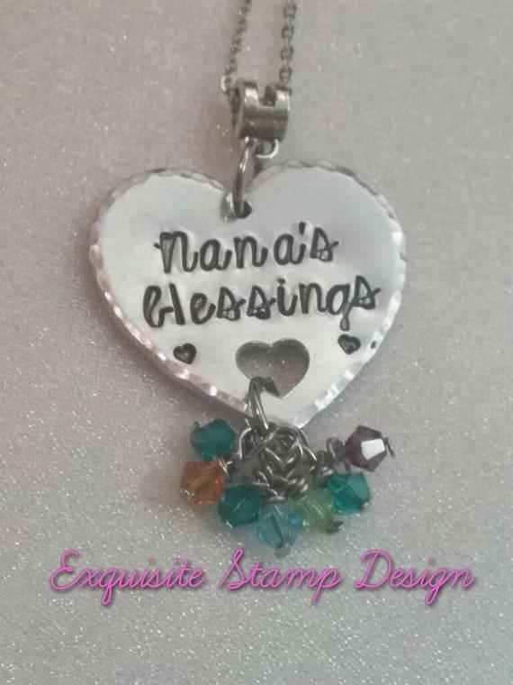 Nana's Blessings, Grandchild Necklace, Gift for Nana, Grandchildren Necklace, Grandbaby Jewelry, We Love Grandma, Birthstone Necklace
