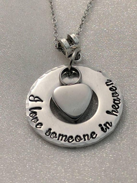 Cremation Jewelry - Urn Necklace - I Love Someone In Heaven - Heart Urn - Ash Necklace - Ashes Keepsake Necklace - Memorial Jewelry - Locket