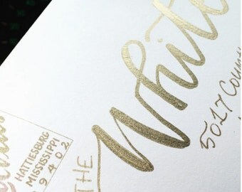 Letterpress Wedding Invitation Hand Calligraphy Gold Foil