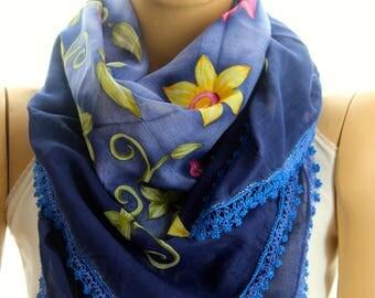 needle lace shawl - Yemeni Scarf - Turkish Oya Scarf - Needle Crochet Yemeni - Handmade Shawl - blue shawl