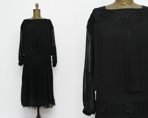 20s Sheer Black Day Dress - Size Large Vintage 1920s Dropped Waist Dress