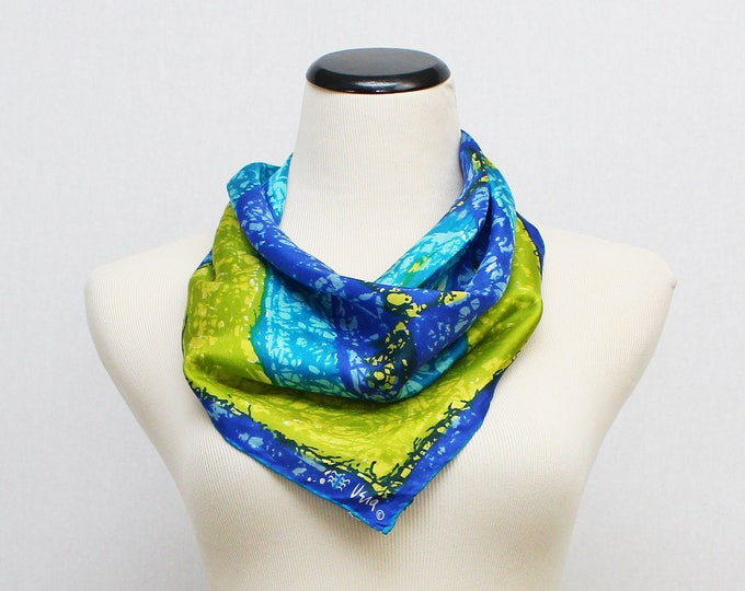 Blue and Green Silk Vera Scarf - Vintage 1960s Abstract Vera Neumann Scarf - Ladybug Signature