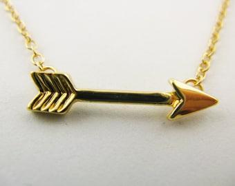 Gold Arrow Pendant Necklace
