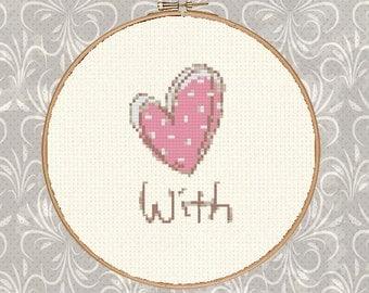 Cute Pink heart Cross Stitch Pattern