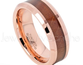 8mm Rose Gold Tungsten Ring, Hawaiian Koa Wood Inlay Tungsten Wedding Band, 2-tone Comfort Fit Beveled Tungsten Anniversary Ring TN739PL