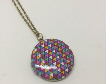 Vintage 80s Geometric Rainbow Metal Locket Pendant by oldmanwithers