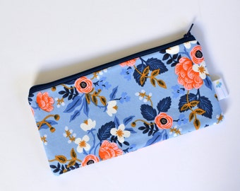 Pretty Pencil Case, Pen Bag, Gift for Teacher, Handbag Organizer Art Supply Storage Blue Zipper Pouch Rifle Fabric Zip Bag Floral Zipper Bag