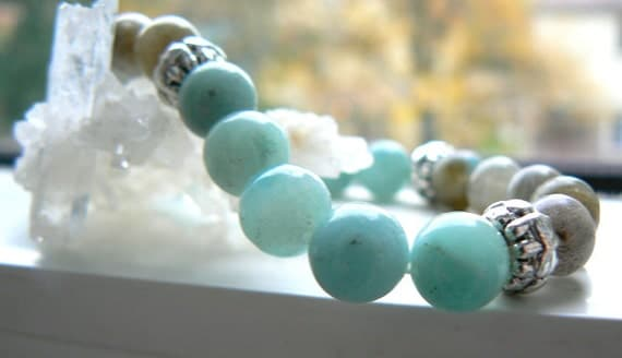 Amazonite gemstone stretch bracelet- Labradorite stretch bracelet- Blue stone bracelet- boho jewelry- Fashion accessory-Women bracelet gift