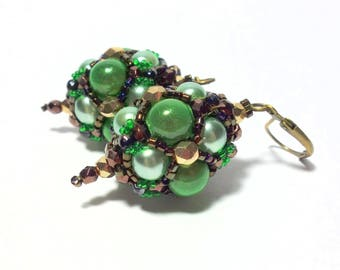 Earrings green brown gold hand threaded miracle beads Miyuki Delicas fire polished glass beads earrings
