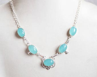 Gorgeous 925 Silver Necklace with Genuine oynx