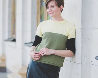 Woman's Hand Knit Sweater / Cotton triple-color Sweater / Yellow Olive Black Sweater